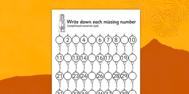 Chinese New Year Missing Number Activity Sheet Romanian Translation - romanian, chinese new year, missing number, activity, worksheet
