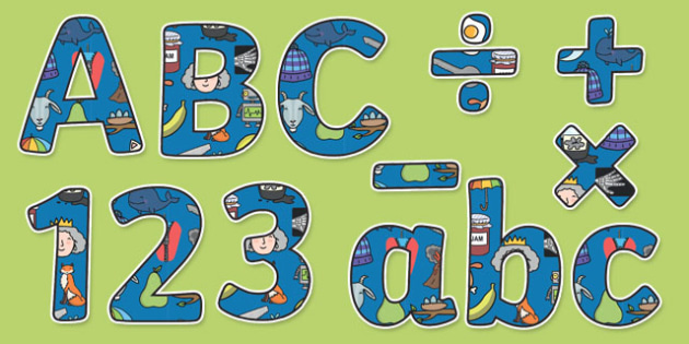 Phase 1 Themed Display Lettering Letters and Numbers Pack - English lettering, English display, English display lettering, phase 1