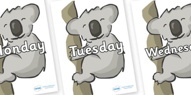 Days of the Week on Koalas - Days of the Week, Weeks poster, week, display, poster, frieze, Days, Day, Monday, Tuesday, Wednesday, Thursday, Friday, Saturday, Sunday