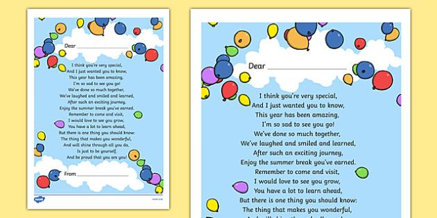 End of Year Poem Printout - end, year, poem, printout, transition
