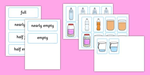 Capacity Matching Cards EYFS - capacity, maths, numeracy, matching cards, match, cards, eyfs
