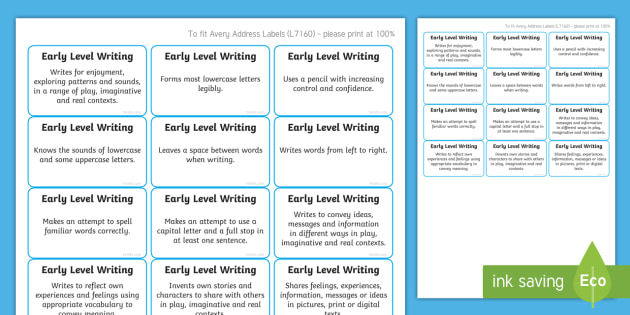 *NEW* CfE Early Level Writing Benchmark Assessment Stickers-Scottish