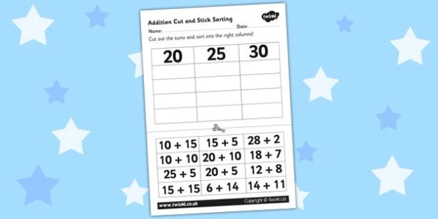 20 25 30 Addition Cut And Stick Activity - addition, cut, stick