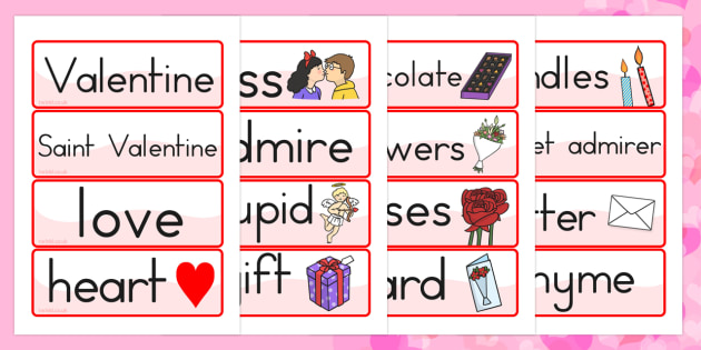 Valentines Day Topic Word Cards - valentines day, word cards