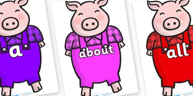 100 High Frequency Words on Pigs - High frequency words, hfw, DfES Letters and Sounds, Letters and Sounds, display words