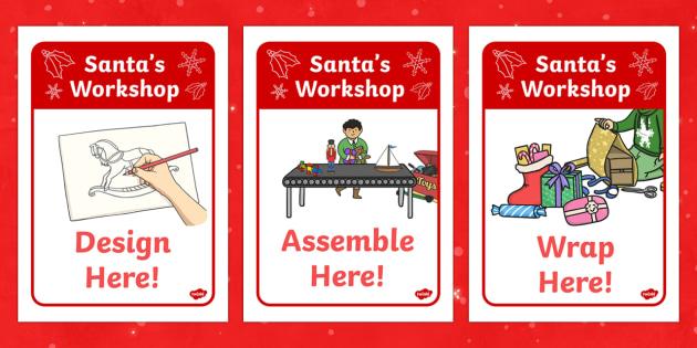 Santa's Workshop Display Posters -  Christmas, xmas, Grotto, workshop, Santa, Father Christmas, display poster, tree, advent, nativity, santa, father christmas, Jesus, tree, stocking, present, activity, cracker, angel, snowman, advent , bauble