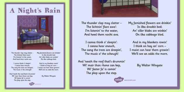 Walter Wingate: A Night's Rain Poem Display Posters - cfe, walter wingate, a nights rain, display posters