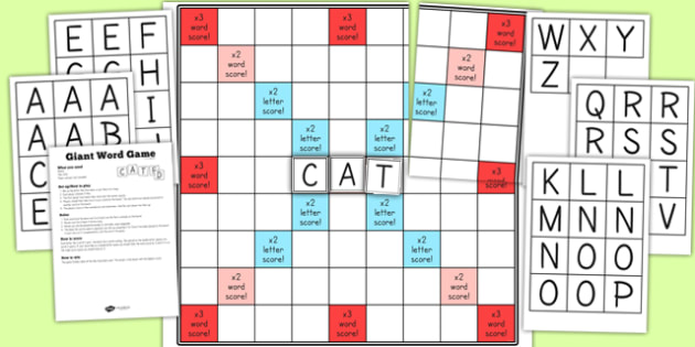 Giant Word Game Display And Cut Outs - game, display, words