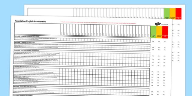 Australian Curriculum Foundation English Assessment Spreadsheet - australia, curriculum, foundation