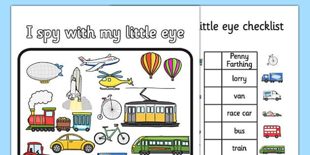 Transport Themed I Spy With My Little Eye Activity - activity