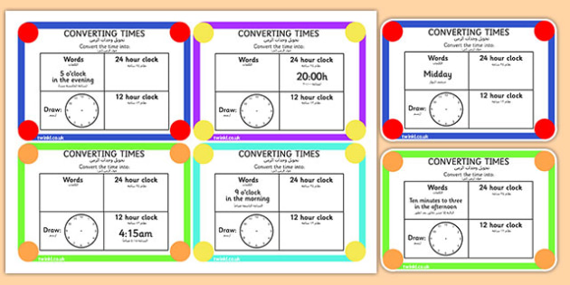 Converting Time Challenge Cards Arabic Translation - arabic, time, clocks, hours, numeracy