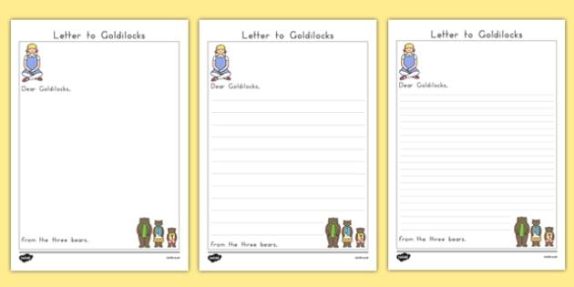 Three Bears Letter to Goldilocks - australia, writing, english, writing frame, template, traditional tales, KS1, key stage 1