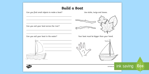 Build a Boat Outdoor Learning Activity Sheet - CfE Outdoor Learning, nature, forest, woodland, playground, maths, Worksheet, boat, creation, sailin
