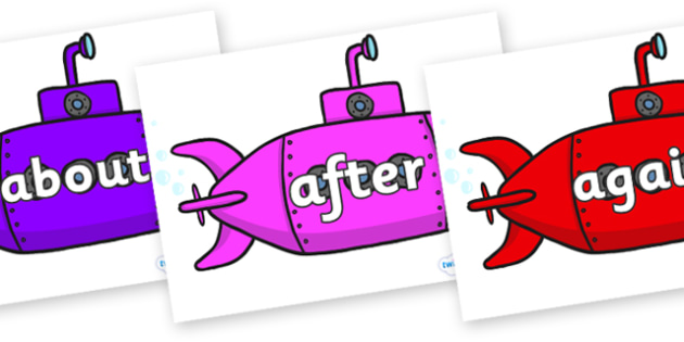 KS1 Keywords on Submarines - KS1, CLL, Communication language and literacy, Display, Key words, high frequency words, foundation stage literacy, DfES Letters and Sounds, Letters and Sounds, spelling
