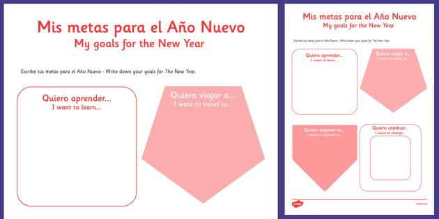 Mis metas para el Año Nuevo Spanish Activity Sheet Translation - spanish, New Year's, resolutions, goals, metas, propósitos, escribir, Spanish, Español, dictionary, worksheet