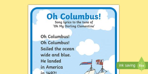 Oh Columbus! Columbus Day Song Lyrics