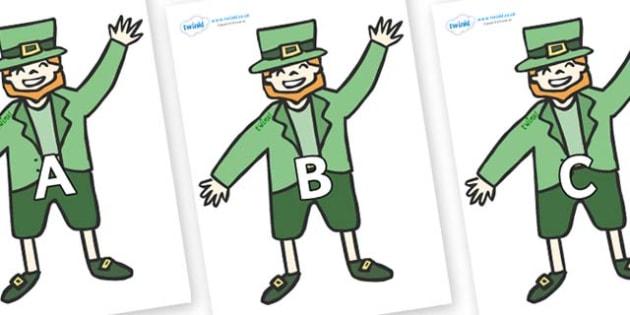A-Z Alphabet on Leprechauns - A-Z, A4, display, Alphabet frieze, Display letters, Letter posters, A-Z letters, Alphabet flashcards