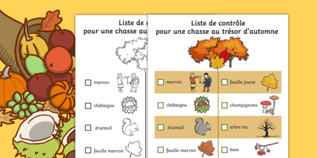 Autumn Hunt Checklist French