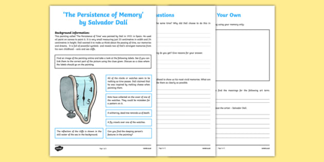 The Persistence of Time by Dalí Art Appreciation Activity Sheet - Persistence of time, Dalí, art, activity, sheet, worksheet