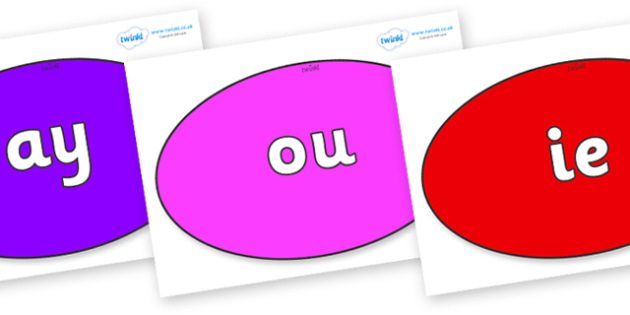 Phase 5 Phonemes on Ovals - Phonemes, phoneme, Phase 5, Phase five, Foundation, Literacy, Letters and Sounds, DfES, display