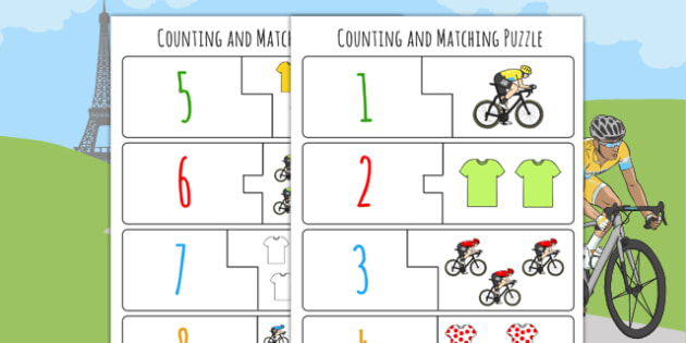 Tour de France Themed Counting Matching Puzzle - le tour, count