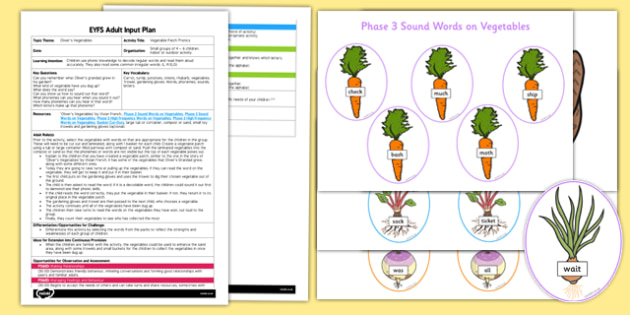 EYFS Vegetable Patch Phonics Adult Input Plan and Resource Pack