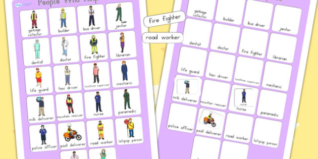 People Who Help Us Vocabulary Poster - vocab poster, display