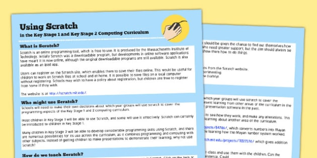 Using Scratch in KS1 & KS2 Computing Curriculum Help Sheets
