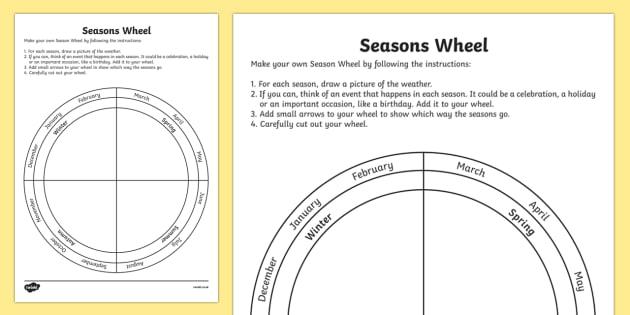 Seasons Wheel Activity Sheet - seasons wheel, activity, sheet, science, seasons, wheel, worksheet