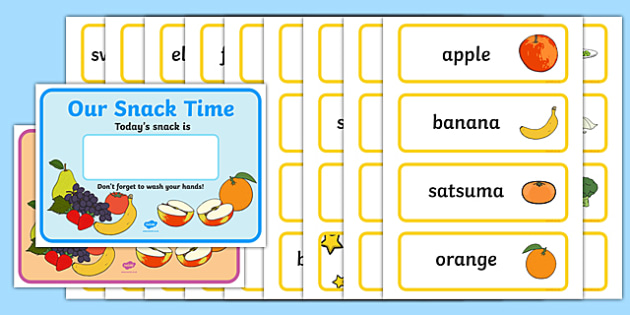 Snack Posters and Labels - Snack poster, snack labels, display poster, snack time, snack display, fruit, water, snack area, snack, snacks, fruit time, apple, orange, banana, pear, tomato