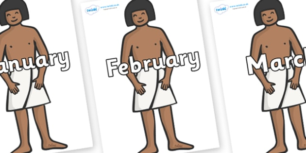 Months of the Year on Egyptian Workers - Months of the Year, Months poster, Months display, display, poster, frieze, Months, month, January, February, March, April, May, June, July, August, September