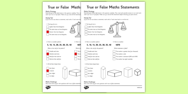 Year 3 True or False Maths Activity Sheet - worksheet, test skills, NAPLAN, problem solving, reasoning