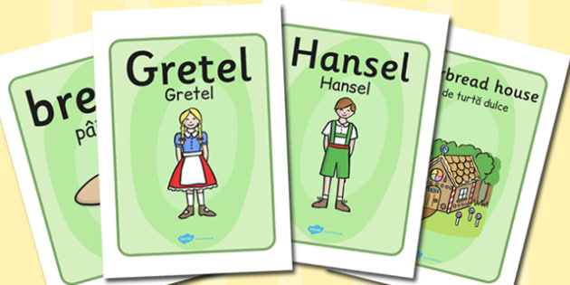 Hansel and Gretel Display Posters Romanian Translation - romanian