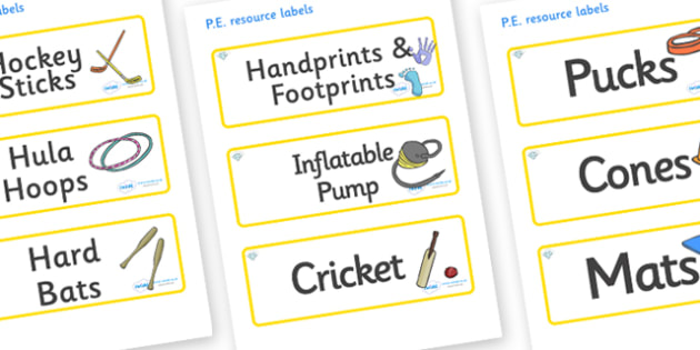 Diamond Themed Editable PE Resource Labels - Themed PE label, PE equipment, PE, physical education, PE cupboard, PE, physical development, quoits, cones, bats, balls, Resource Label, Editable Labels, KS1 Labels, Foundation Labels, Foundation Stage La