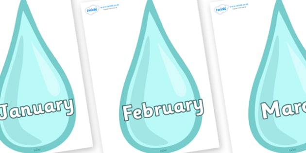 Months of the Year on Water Drops - Months of the Year, Months poster, Months display, display, poster, frieze, Months, month, January, February, March, April, May, June, July, August, September