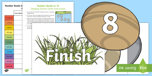 Number Bonds to 10 Stepping Stones Game - CfE Numeracy and Mathematics, number bonds, active maths, maths games, adding to 10,Scottish