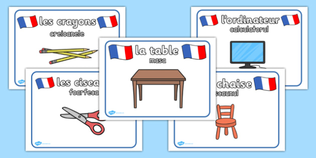 Obiectele din clasa, Cartonase franceza-romana