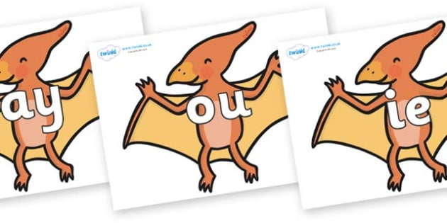 Phase 5 Phonemes on Pterodactyl Dinosaurs - Phonemes, phoneme, Phase 5, Phase five, Foundation, Literacy, Letters and Sounds, DfES, display