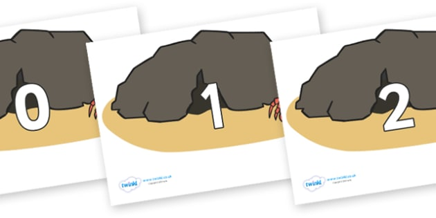 Numbers 0-31 on Caves - 0-31, foundation stage numeracy, Number recognition, Number flashcards, counting, number frieze, Display numbers, number posters