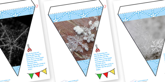 Snowflake Display Photo Bunting - snowfalke, winter, photo display bunting, bunting, themed bunting, display bunting, display, bunting flags, flag bunting