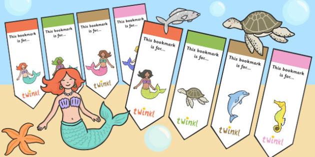 Mermaid Themed Editable Bookmarks - reading, books, awards, read