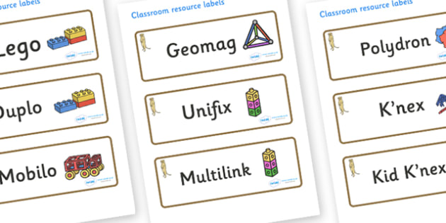 Meerkat Themed Editable Construction Area Resource Labels - Themed Construction resource labels, Label template, Resource Label, Name Labels, Editable Labels, Drawer Labels, KS1 Labels, Foundation Labels, Foundation Stage Labels