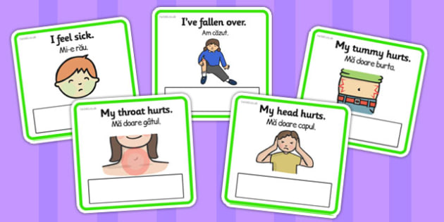 EAL Emergencies Editable Cards with English Romanian Translation - romanian