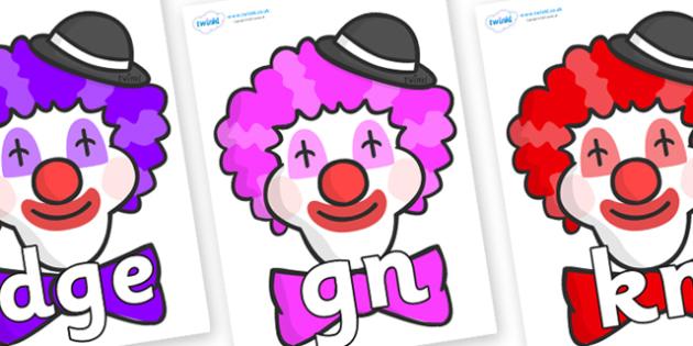 Silent Letters on Clown Faces - Silent Letters, silent letter, letter blend, consonant, consonants, digraph, trigraph, A-Z letters, literacy, alphabet, letters, alternative sounds