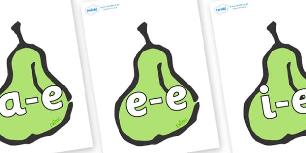 Modifying E Letters on Pears - Modifying E, letters, modify, Phase 5, Phase five, alternative spellings for phonemes, DfES letters and Sounds