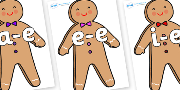 Modifying E Letters on Gingerbread Man - Modifying E, letters, modify, Phase 5, Phase five, alternative spellings for phonemes, DfES letters and Sounds