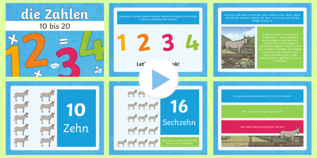 Numbers Ten to Twenty in German PowerPoint - Numbers, Counting, German,German, counting, MFL,