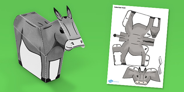 Donkey Paper Model - Donkey, Paper, Model, Cut, Stick, Activity