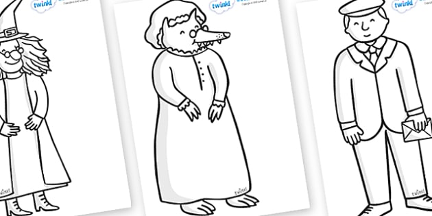 Story Colouring Sheets to Support Teaching on The Jolly Postman - blue, postman, jolly, letter, Janet Ahlberg, Cinderella, colouring, fine motor skills, poster, worksheet, vines, A4, display, story, story book, book resources, Three Bears, wolf, gian
