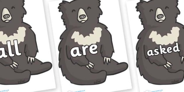 Tricky Words on Bears - Tricky words, DfES Letters and Sounds, Letters and sounds, display, words
